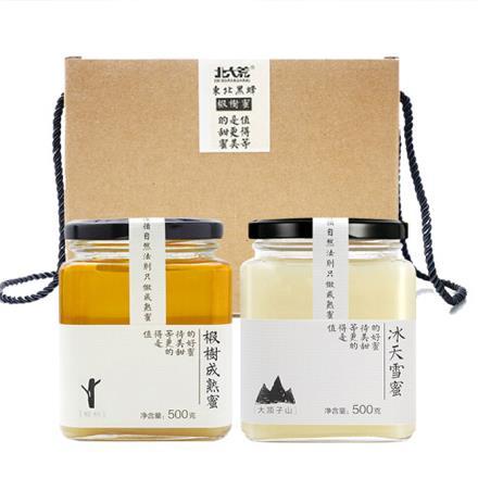 大荒 東北黑蜂 純蜂蜜 椴樹成熟蜜禮盒裝1000g(冰天雪蜜500g+椴樹成熟蜜500g)