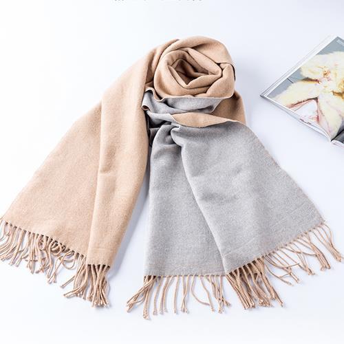 冬季必备皓曼世纪英伦风系列保暖双面绒围巾驼米(女)