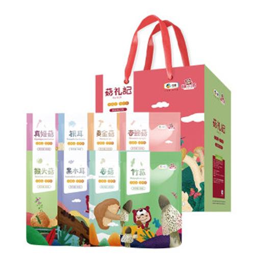 中粮福小满山珍干货菌菇食用菌礼盒 香菇木耳银耳干菌组合大礼包 珍菇记礼盒650g