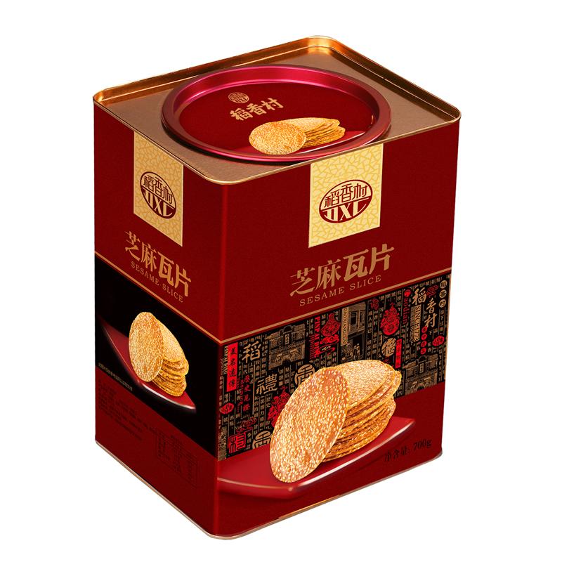 稻香村芝麻瓦片700g铁桶礼盒独立包装休闲零食薄脆饼干蛋糕点心甜