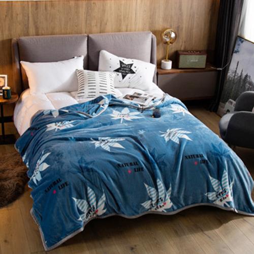 梦洁家纺出品 MEE 毯子 法兰绒毛毯 午睡休闲盖毯空调毯 办公室沙发休闲毯 枫叶150*200cm