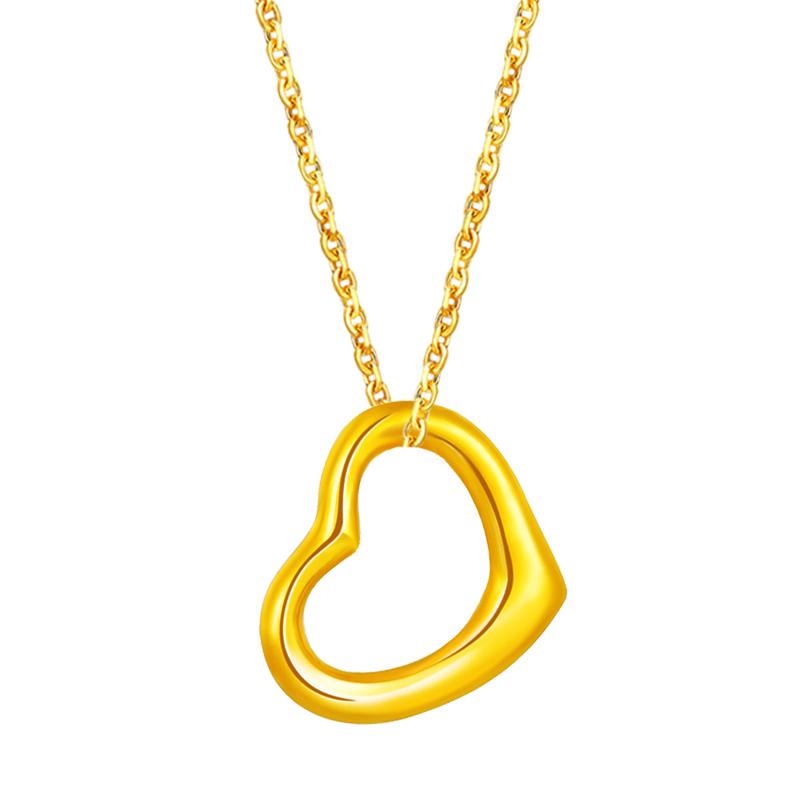 足金心形吊坠金坠子金挂坠黄金项链3D硬金套链送女友情人节礼物 吊坠+镀金银项链
