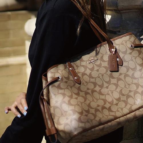 COACH 蔻驰 奢侈品 女士大号单肩手提包卡其色PVC F57842 IME74