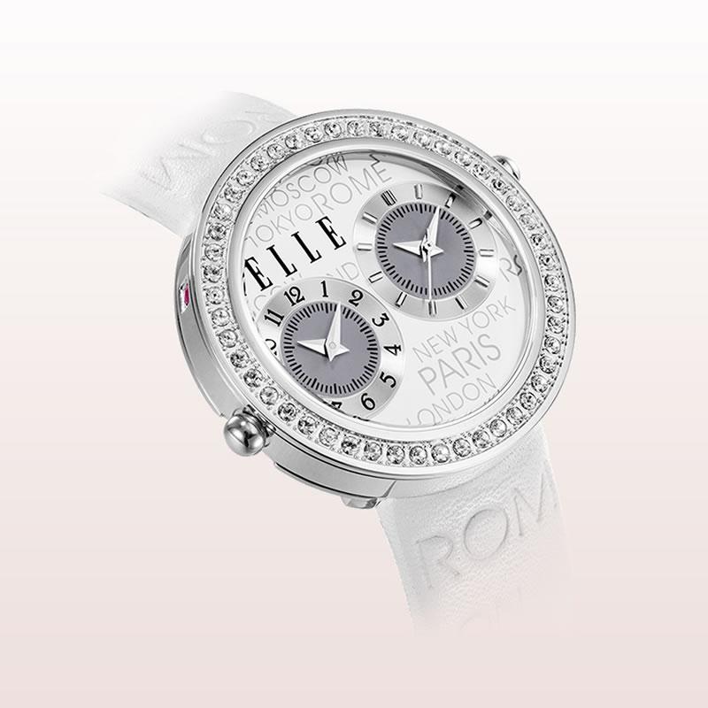 ELLE Jetlag系列时尚镶钻女表EL20038S17C