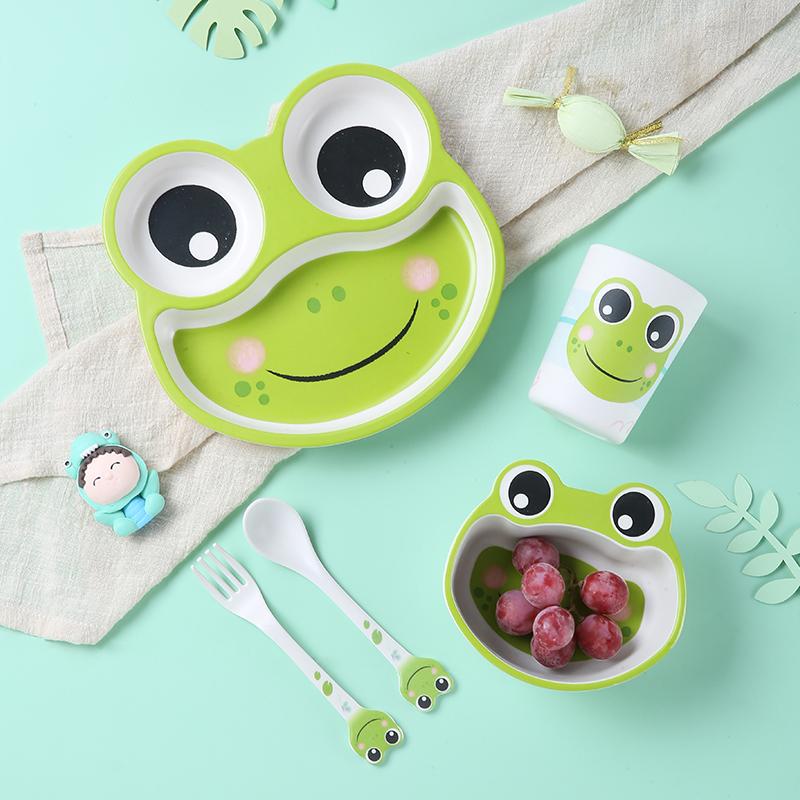 竹纤维儿童餐具餐盘分格卡通宝宝幼儿可爱汽车婴儿辅食碗套装 青蛙5件套