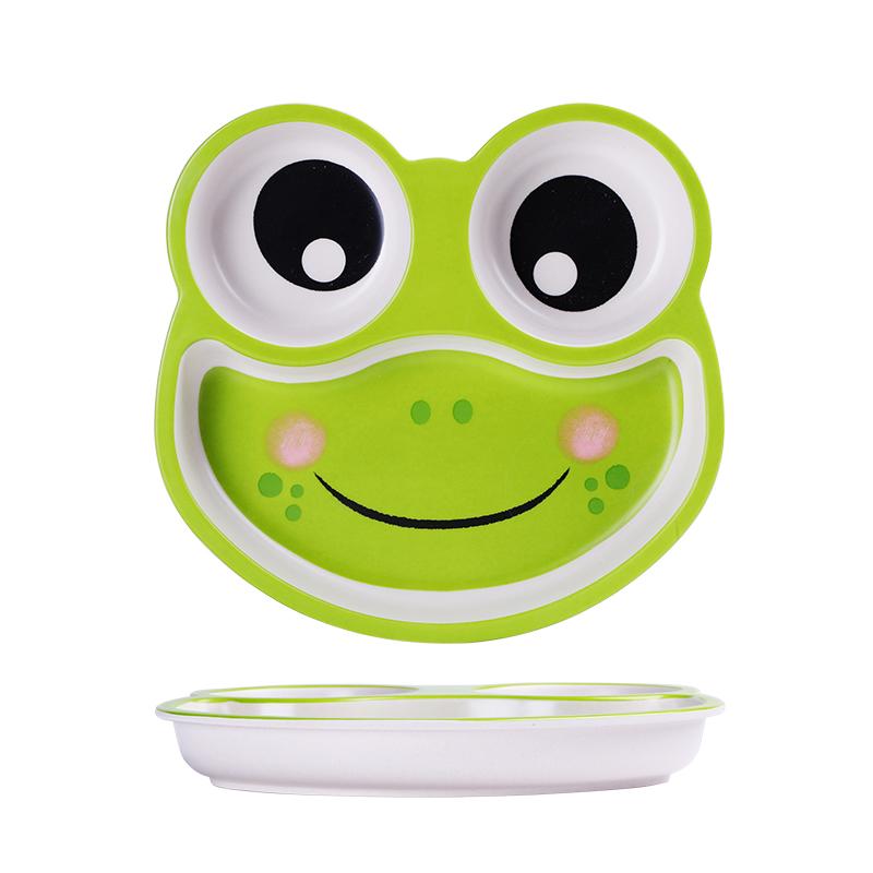 希尔儿童餐具竹纤维宝宝餐盘分格卡通幼儿园家用婴儿学吃饭辅食盘子 青蛙餐盘