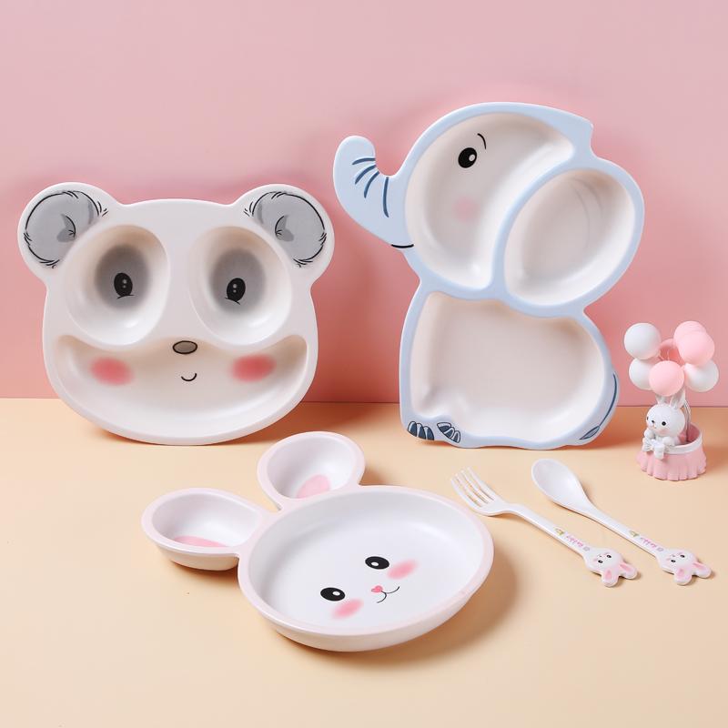 希尔儿童餐具竹纤维宝宝餐盘分格卡通幼儿园家用婴儿学吃饭辅食盘子 小鹿餐盘