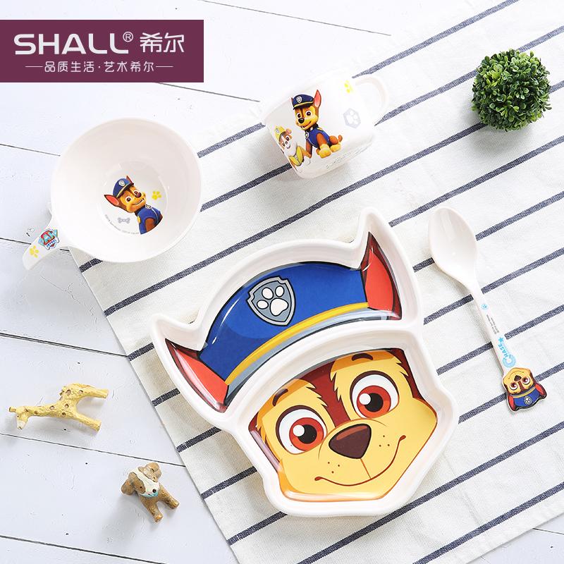 汪汪队儿童餐具套装宝宝餐具分格盘幼儿园婴儿辅食碗勺子 阿奇4件套