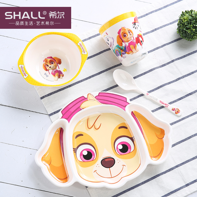 汪汪队儿童餐具套装宝宝餐具分格盘幼儿园婴儿辅食碗勺子 天天4件套