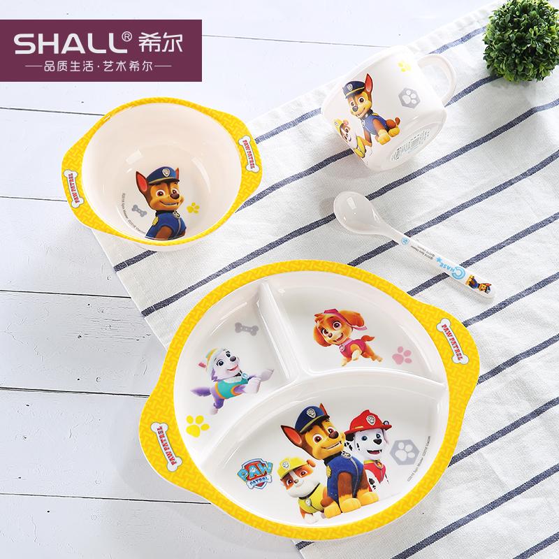 汪汪队儿童餐具套装宝宝餐具分格盘幼儿园婴儿辅食碗勺子 圆形三格盘4件套