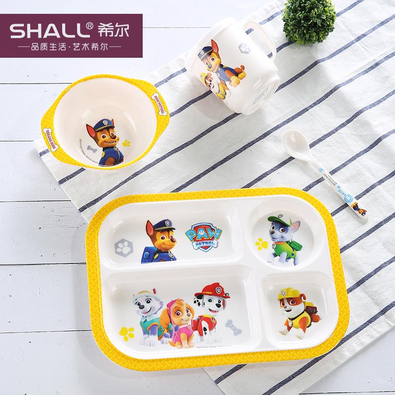 汪汪队儿童餐具套装宝宝餐具分格盘幼儿园婴儿辅食碗勺子 四格餐盘4件套