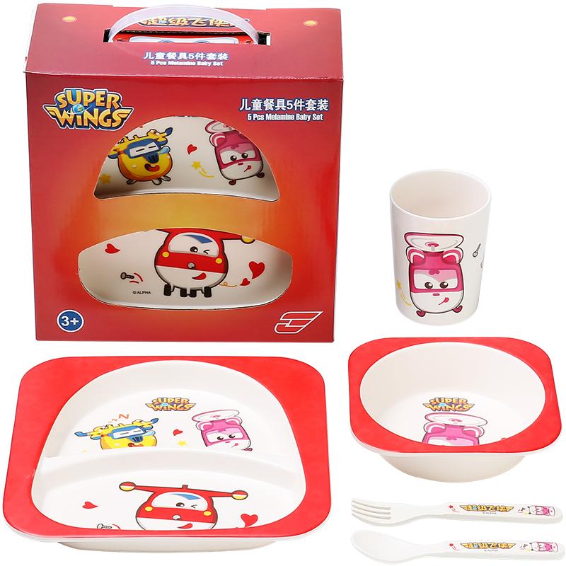 超级飞侠宝宝餐具套装儿童餐盘分格卡通婴儿辅食碗吃饭勺子喝水水杯 超级飞侠餐具五件套