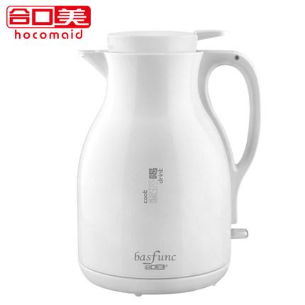 合口美 HA300 304不锈钢电热水壶双层防烫热水壶电水壶家用1.2L 典雅白-白色盖1.2L