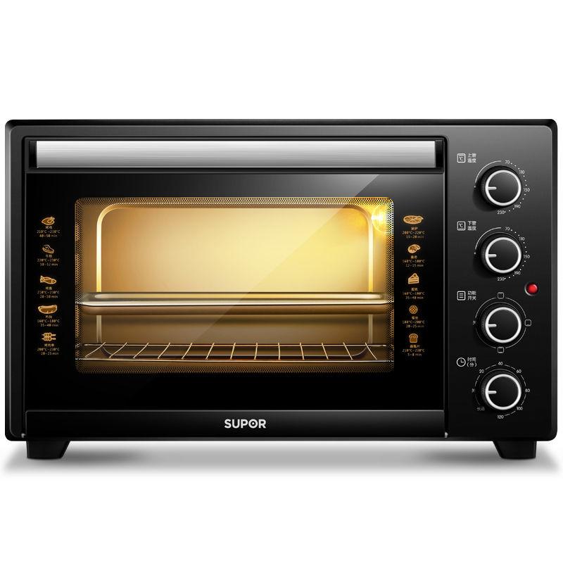 苏泊尔(SUPOR)家用多功能电烤箱 35升大容量 烤箱家用易操作 专业烘焙上下独立控温可拆洗炉灯黑色K35FK602