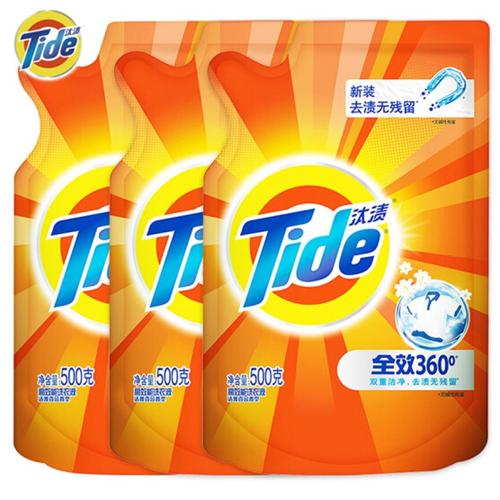 汰渍 Tide 洁净除菌洗衣液(洁雅百合香)500G*3袋装 超值装 补充装