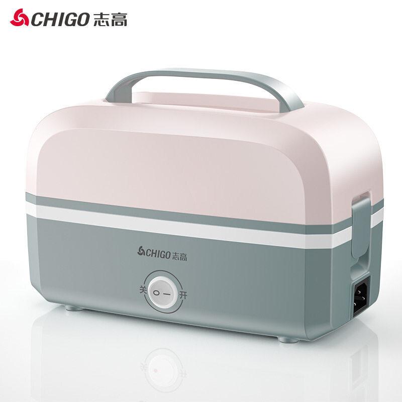 志高(CHIGO) 志高电热饭盒 双层上班不锈钢内胆蒸煮插电保温饭盒电热饭器热饭盒 粉色