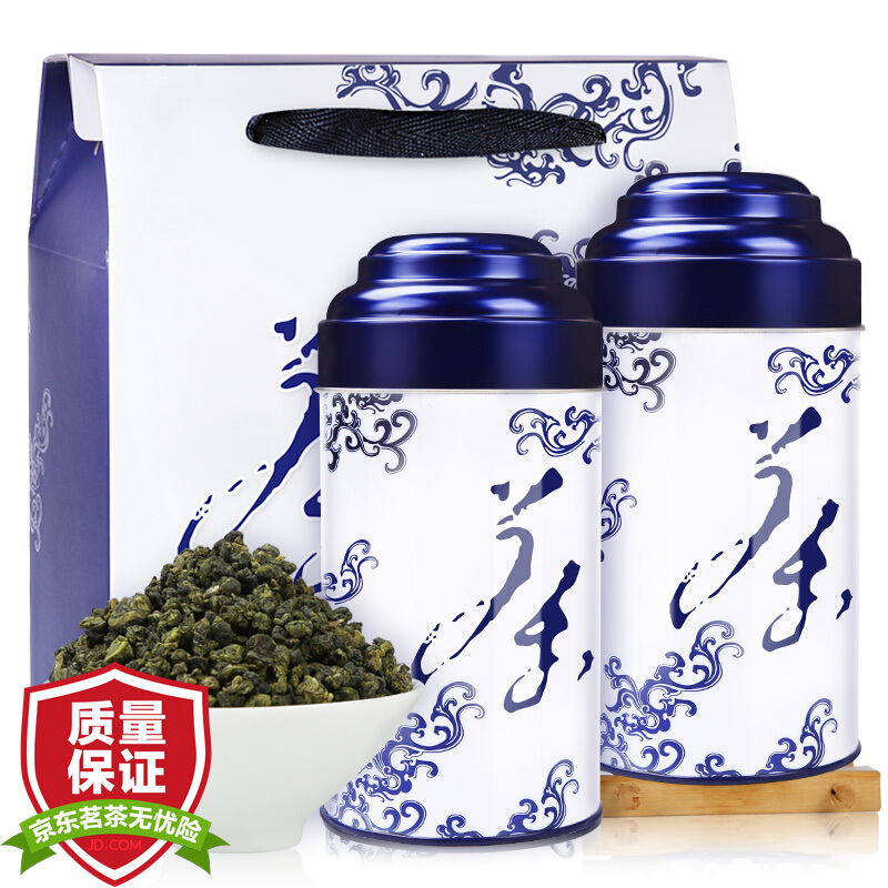 润虎 茶叶 台式乌龙茶 青花礼盒300克 冻顶乌龙风味 高山茶