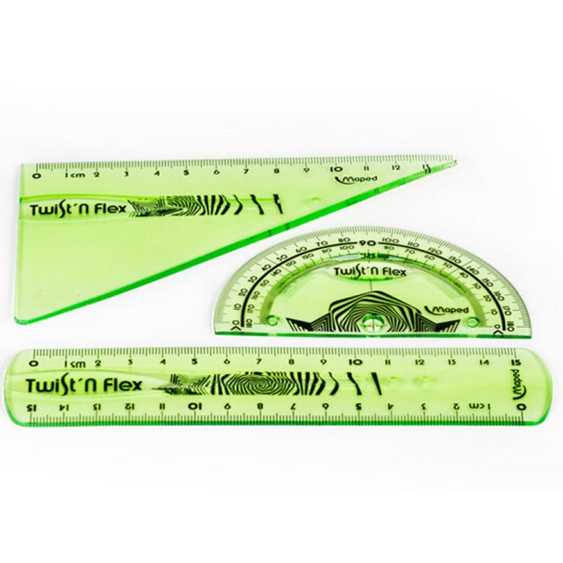 马培德(Maped)柔软套尺 尺子 直尺 量角器 三角尺套装 绿色 895024CH