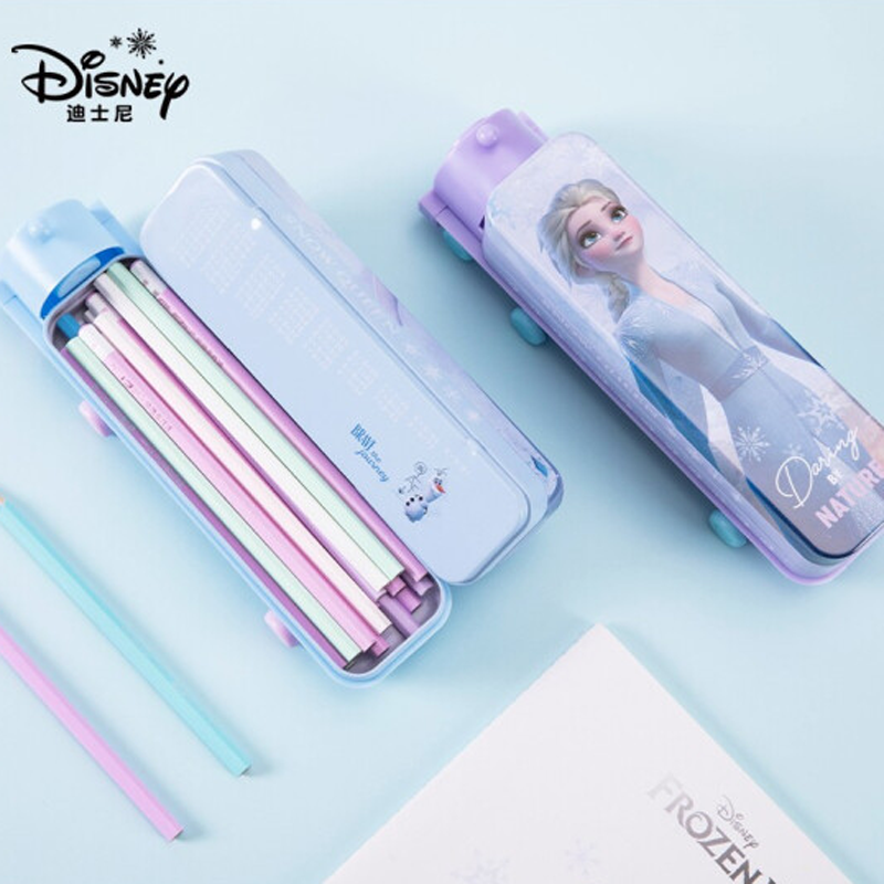 迪士尼(Disney)小学生文具盒 双层大容量笔盒 创意多功能火车头铅笔盒 冰雪奇缘2系列 紫色DM29175F2