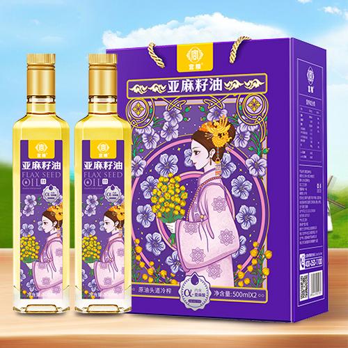 宫粮亚麻籽油礼盒500ml*2